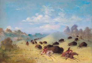 Comanche_Indians_Chasing_Buffalo_with_Lances_and_Bows